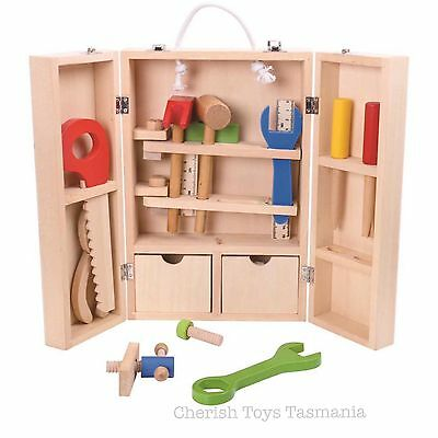 Kids Wooden Toy Tool Box Kit Pretend Role Play 33 Piece Set Natural Workshop