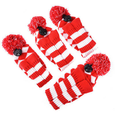 4Pcs Red Knitted Head Covers Golf Club Putter Wood Driver Iron Headcovers Sleeve