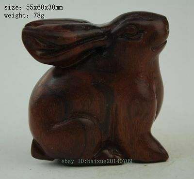 Chinese Antique natural agalloch wood hand-carved rabbit statue