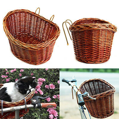 Wicker Picnic Bicycle Front Shopping Basket Carry Handle Cycle Bike Garden Tool