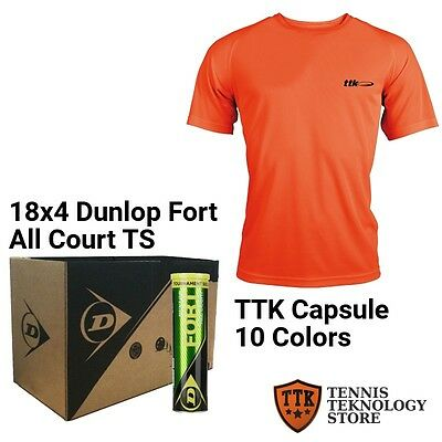 Palline Dunlop Fort All Court TS - cartone 18 + T-Shirt TTK Capsule
