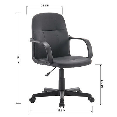 New PU Leather Computer Desk Task Hydraulic Black Executive Office Chair Desk