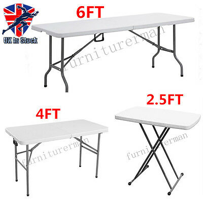Folding Trestle Table Picnic/camping/bbq Banquet/party/garden Heavy Duty New Uk