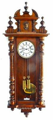 Quality Antique 8 Day Weight Driven Carved Mahogany Vienna Regulator Wall Clock