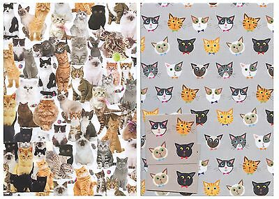 Cats Gift Wrap Wraping 2 Sheet With 2 Matching Tags Any Occasion *1St P&p