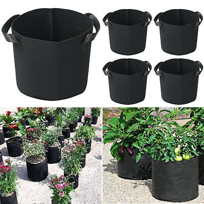 5 Pack Fabric Plant Pots Breathable Grow/Planter Bags with Handles 5 Gallon New