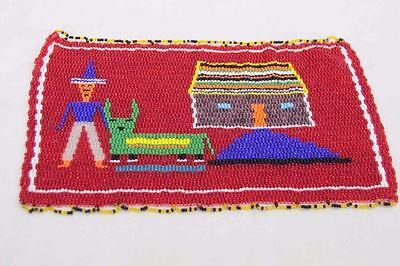 Lovely Miniature Beadwork of a Man and His House and Pet #12129