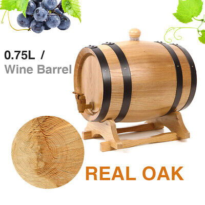 0.75L Oak Timber Barrel Whiskey Port Container Wooden Wines Keg with Spigot