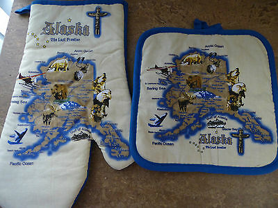 Alaska Oven Mitt/Pot Holder set, Blue/Beige, Cotton, Brand New