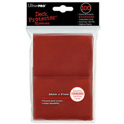 Red Ultra Pro Deck Protectors Pokemon MTG Trading Card Standard Sleeves (100)