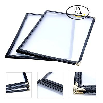 """10 Pack Triple Fold Menu Covers Restaurant Cafe Book Black 3 Page 6 View 8.5x11"""""""