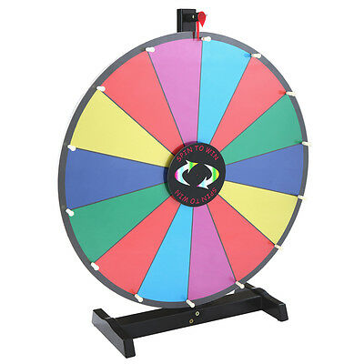 """24"""" Tabletop Spinning Prize Wheel 14 Slots Color Dry Erase Trade Show Spin Game"""