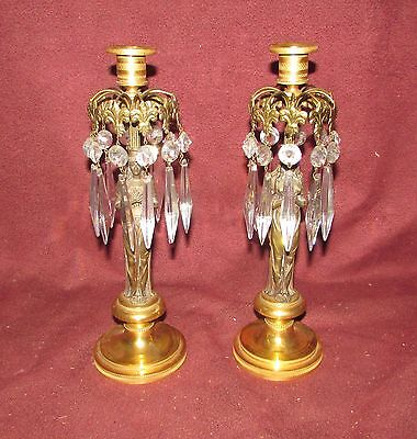 Pair Antique French Bronze Candlesticks Dore Bronze with Sculpture