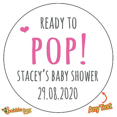 48 x READY TO POP Baby Shower Personalised Stickers Pregnant Mom Party Bag - 682