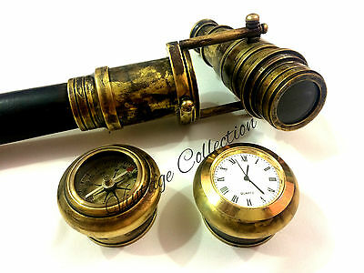 Antique Wooden Brass Hidden Telescope Walking Stick with COMPASS n CLOCK on Top