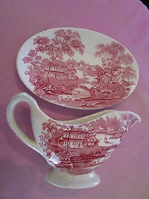 Clarice Cliff PINK Tonquin Gravy Jug and Matching Saucer, Perfect