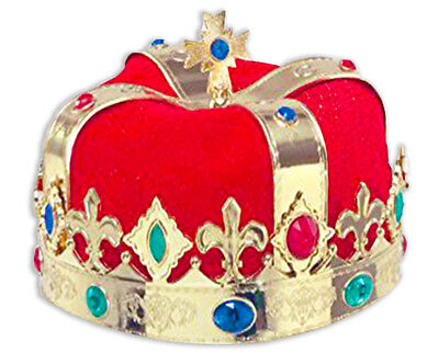Red Velvet Crown King Prince Plastic Gold Royal Queen Panto Prestige