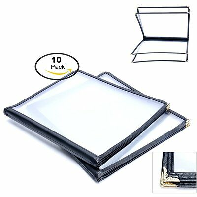 (10 Pack) 4 Page 8 View Menu Covers Book for Restaurant/Cafe 8.5 x 11 inch-Black