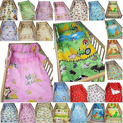 3 piece COT BEDDING SET boy girl FITTED SHEET DUVET COVER PILLOW CASE BUMPER
