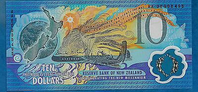 New Zeland 10 Dolares 2000 Polymer S/C Serial muy Bajo-AA------495