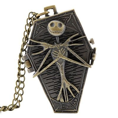 Nightmare Before Christmas Skeleton Coffin Bronze Necklace Pocket Watch + Gift