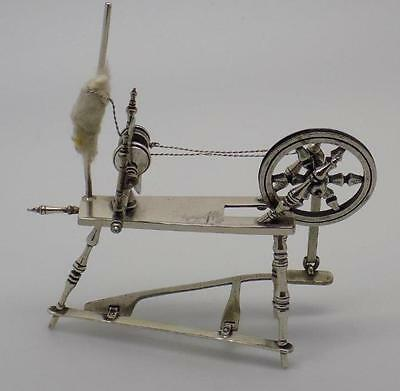 51g Vintage Solid Silver RARE Spinning Wheel Miniature - Stamped - Made in Italy
