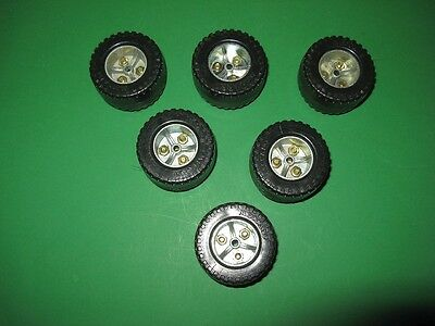 Meccano three-part Roadwheels from the 1970s x 6.  As new.