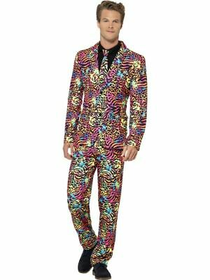 Mens Adults Stand Out Suit 1980s Neon Festival Stag Night Fancy Dress Costume