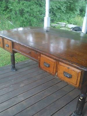 1800's Antique Partners Desk Double Sloped Top HUGE Solid OAK Extremely UNIQUE