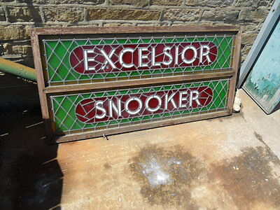 big antique style leaded light stained glass excelsior snooker club window sign