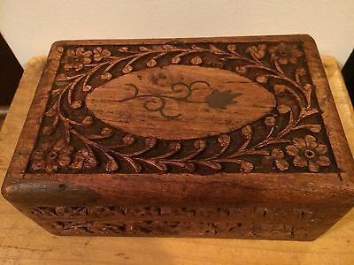 Vintage Carved Wood Brass Inlay Indian Box