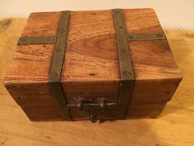 Indian Wood And Brass Bound Trinket Box