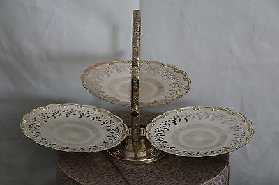 A Lovely Folding Silver Plated 3 Plate Cake Stand / Platter