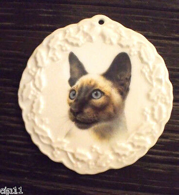 Siamese CAT Bone China Christmas Holiday Round Ornament Made USA NEW