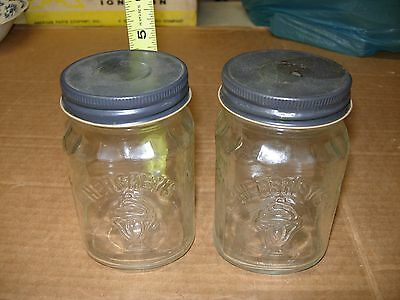 Vintage 2 Hershey's Chocolate Shoppe Toppings Collectible Glass Jar w/ Lids