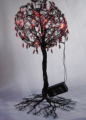 Black Hand Crafted Twisted Wire Tree With Silver/ Black / Red Drops Red Lights