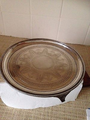 "Solid Sterling  Silver Victorian Salver 550g  1879  10"" diameter"