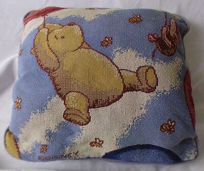 "Vtg Disney Winnie The Pooh & Piglet Balloons Tapestry 12"" Pillow Nursery Classic"
