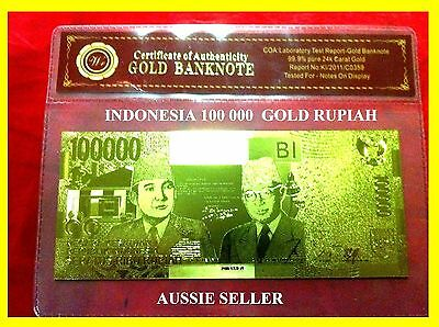 Indonesia Gold 100000 Rupiah Gold Bank Note Banknote  24Kt