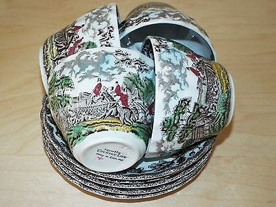 4 Myott COUNTRY LIFE Hunting Scenes Duos: Tea Cups and Saucers (+ Spare Saucer)