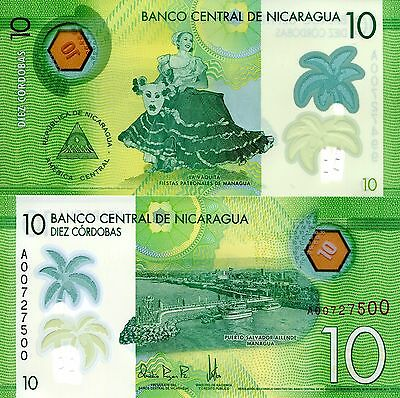 NICARAGUA 10 Cordobas Banknote World Paper Money UNC Currency PICK p-210 Bill