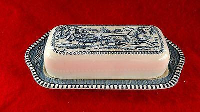 Antique Porcelain Butter Dish with Lid Winter Scene Horses Beautiful