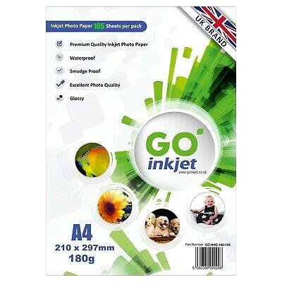 GO Inkjet A4 Photo Paper Glossy 100 Sheets 180gsm for Inkjet Printers