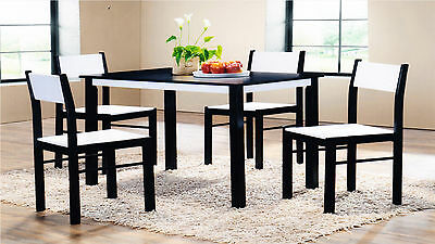 Wooden Dining Table and with 4 Chairs New Design Kitchen Furniture Wenge/White