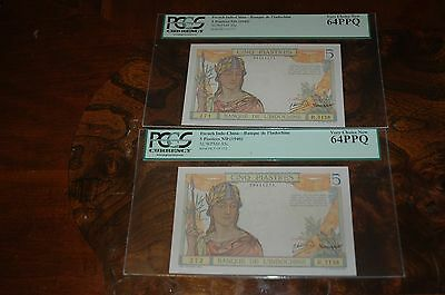 1946 Two Consecutive PCGS 64 French Indo China 5 Piastres Notes