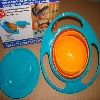 Spill-Proof Food Gyro Feeding Bowl Dish360 degreeRotate lid Baby Kid Children )