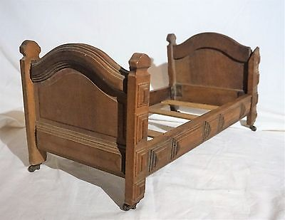 Antique 19th Century Miniature Salesman Sample, Child, or Dolls Wooden Bed Frame