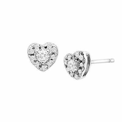 1/4 ct Diamond Heart Halo Stud Earrings in Sterling Silver