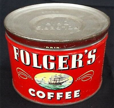 Vintage 1946 Flogers Coffee Can With The Ship Logo