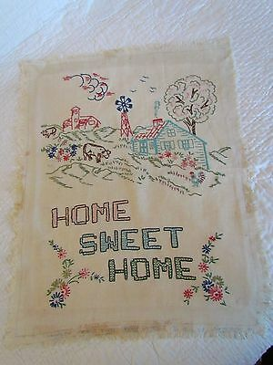 Vintage Home Sweet Home Farm Windmill Country Cows Sampler